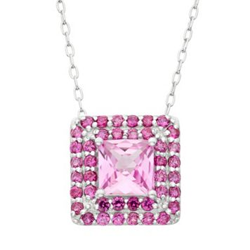 Lab-Created Pink Sapphire & Lab-Created Ruby Sterling Silver Square Halo Pendant Necklace