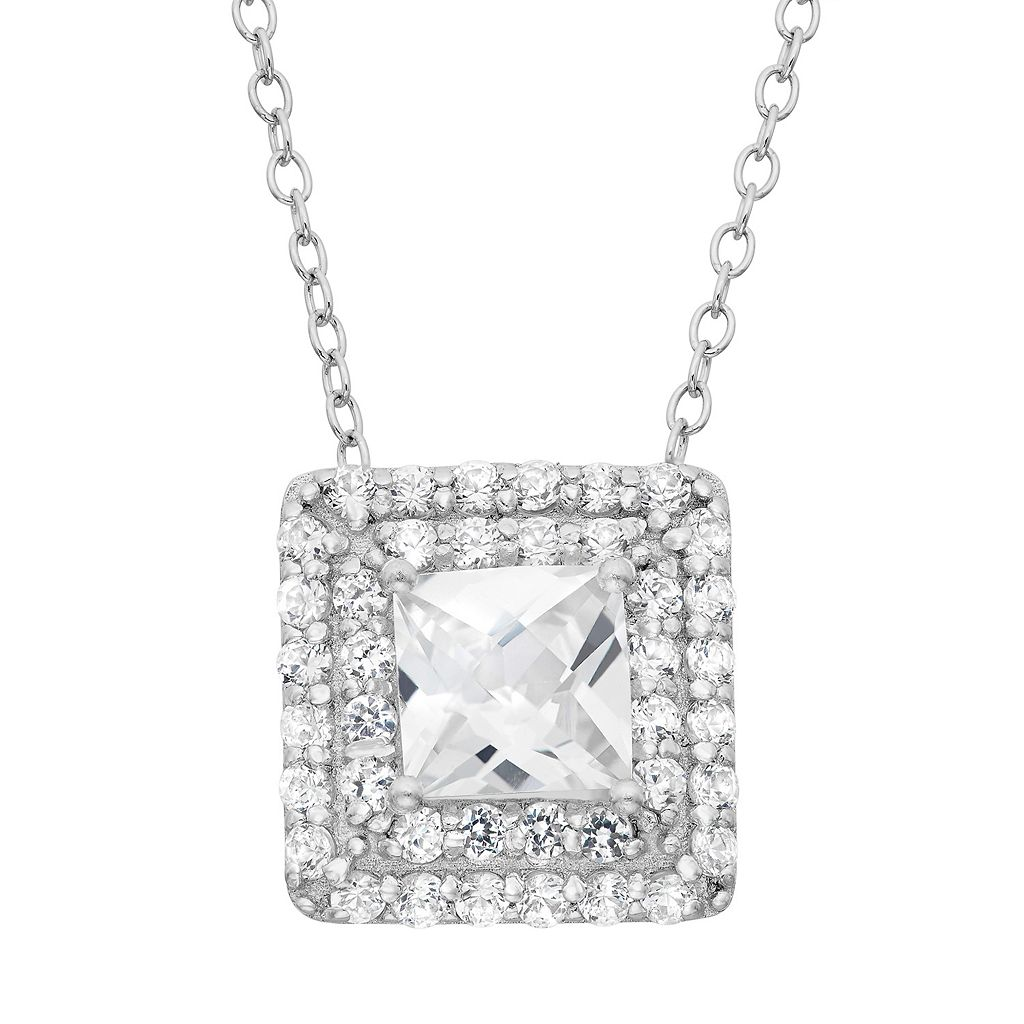 Lab-Created White Sapphire Sterling Silver Square Halo Pendant Necklace