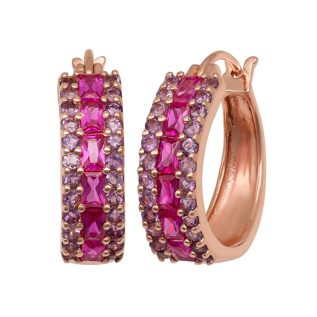 14k Rose Gold Over Silver Lab-Created Ruby & Amethyst Hoop Earrings