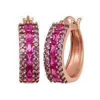 14k Rose Gold Over Silver Lab-Created Ruby & Amethyst Hoop Earrings