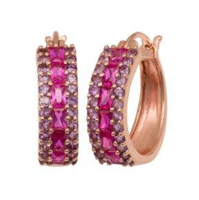 14k Rose Gold Over Silver Lab-Created Ruby and Amethyst Hoop Earrings
