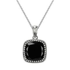 Lavish by TJM Sterling Silver Black Onyx Pendant - Made with Swarovski Marcasite
