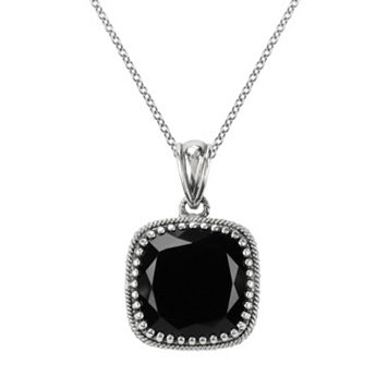 Lavish by TJM Sterling Silver Black Onyx Pendant - Made with Swarovski Marcasite