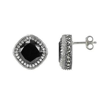 Lavish by TJM Sterling Silver Black Onyx Stud Earrings - Made with Swarovski Marcasite