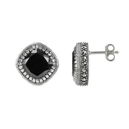 Lavish by TJM Sterling Silver Black Onyx Stud Earrings - Made with Swarovski Marcasite