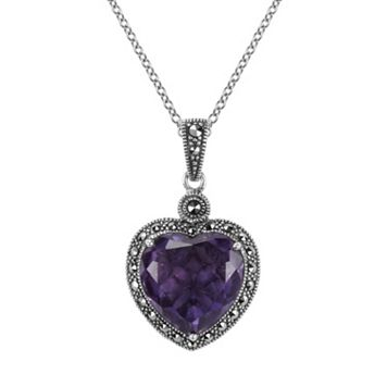 Lavish by TJM Sterling Silver Amethyst Heart Pendant - Made with Swarovski Marcasite