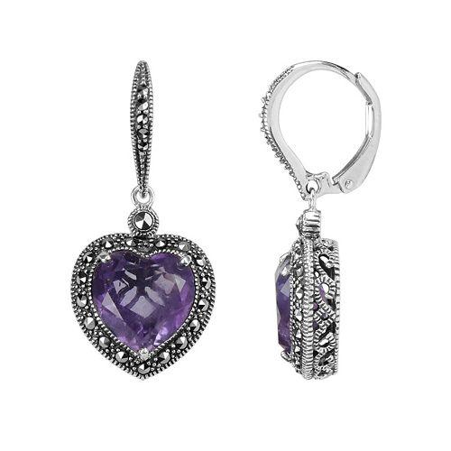 Lavish by TJM Sterling Silver Amethyst Heart Drop Earrings - Made with Swarovski Marcasite