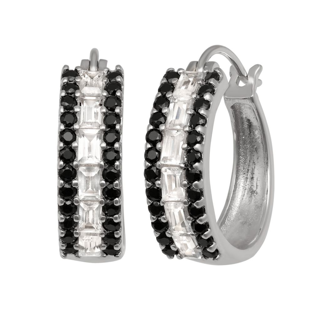 Sterling Silver Lab Created White Sapphire Black Spinel Hoop Earrings