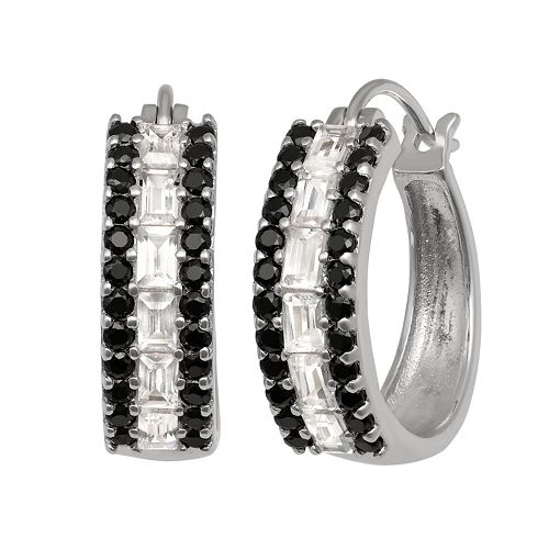 Sterling Silver Lab-Created White Sapphire & Black Spinel Hoop Earrings