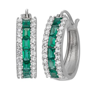 Sterling Silver Lab-Created Emerald & Lab-Created White Sapphire Hoop Earrings