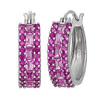 Sterling Silver Lab-Created Pink Sapphire & Lab-Created Ruby Hoop Earrings