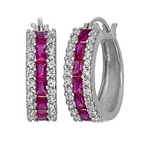 Sterling Silver Lab-Created Ruby & Lab-Created White Sapphire Hoop Earrings