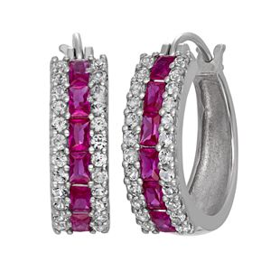 Sterling Silver Lab-Created Ruby and Lab-Created White Sapphire Hoop Earrings