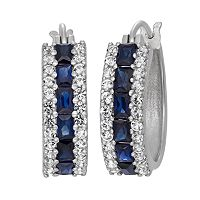 Sterling Silver Lab-Created Blue & White Sapphire Hoop Earrings