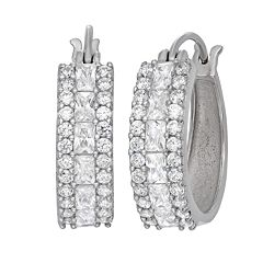 Sterling Silver Lab-Created White Sapphire Hoop Earrings