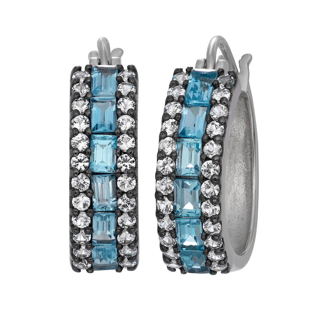 Sterling Silver Swiss Blue Topaz & Lab-Created White Sapphire Hoop Earrings