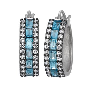 Sterling Silver Swiss Blue Topaz & Lab-Created White Sapphire Hoop Earrings
