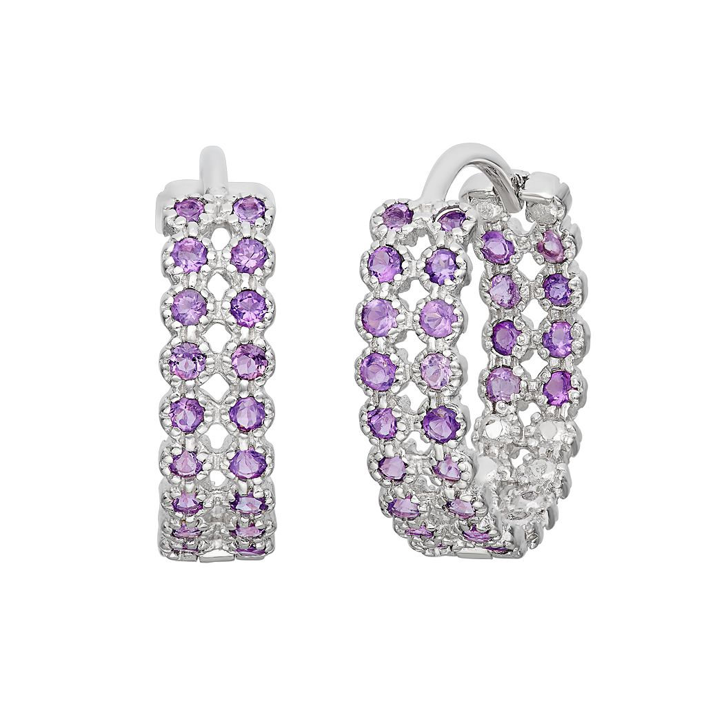 Amethyst Sterling Silver Inside-Out Hoop Earrings