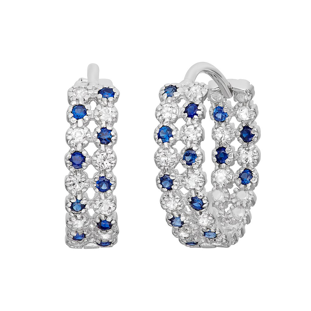 Lab-Created Blue & White Sapphire Sterling Silver Inside-Out Hoop Earrings