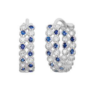 Lab-Created Blue and White Sapphire Sterling Silver Inside-Out Hoop Earrings