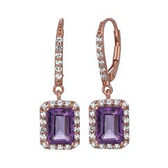 Amethyst & Lab-Created White Sapphire 14k Rose Gold Over Silver Drop Earrings