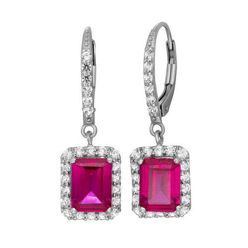 Sterling Silver Lab-Created Ruby & Lab-Created White Sapphire Rectangular Halo Drop Earrings