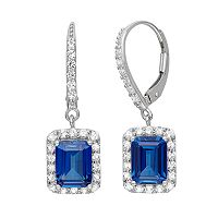 Lab-Created Blue & White Sapphire Sterling Silver Drop Earrings