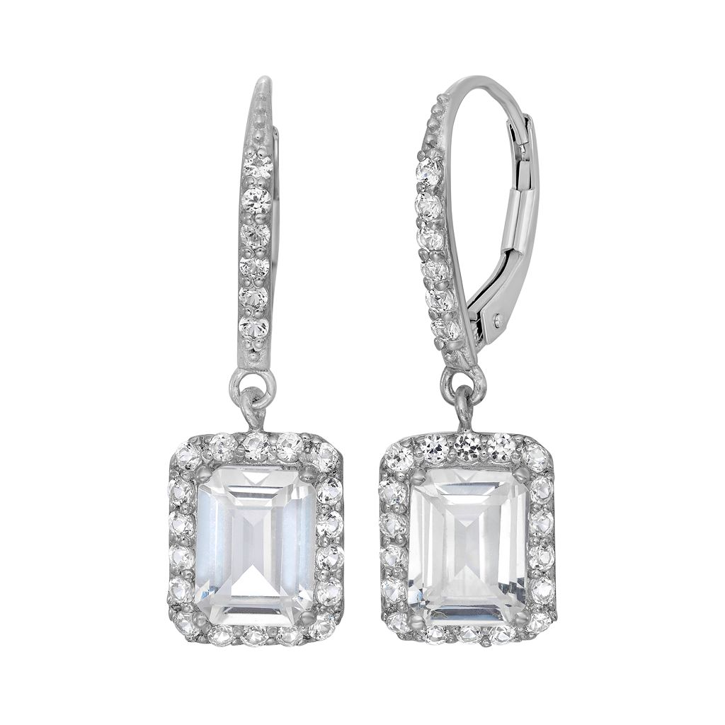 Sterling Silver Lab-Created White Sapphire Rectangular Halo Drop Earrings