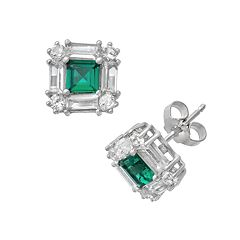 Sterling Silver Lab-Created Emerald & Lab-Created White Sapphire Square Halo Stud Earrings