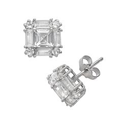 Sterling Silver Lab-Created White Sapphire Square Halo Stud Earrings