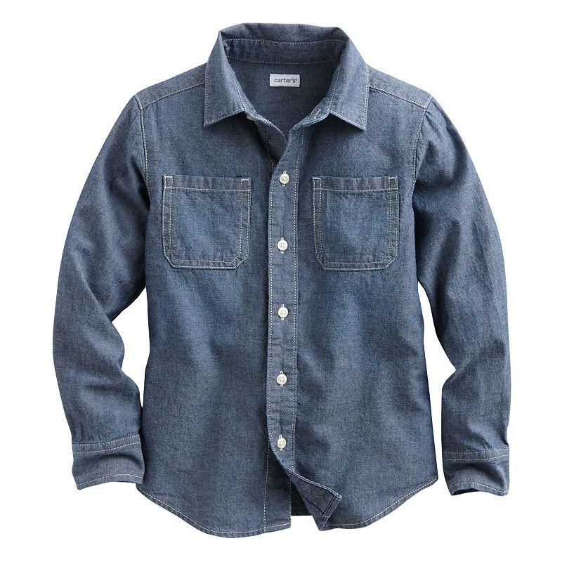 Carter's Woven Chambray Button-Down Shirt - Boys 4-7 (Blue)