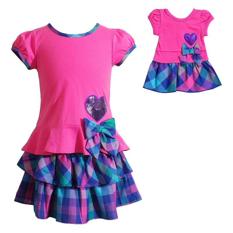 Dollie & Me Checkered Tiered Dress - Girls 4 - 6X