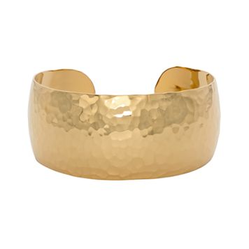 14k Gold Over Silver Hammered Cuff Bracelet