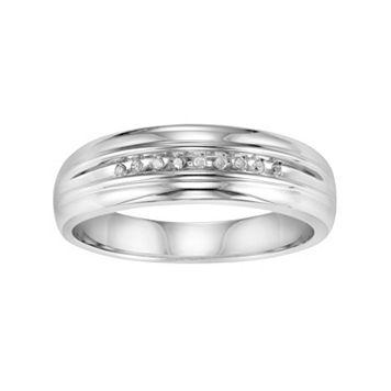 Love Always Diamond Accent Sterling Silver Wedding Band - Men