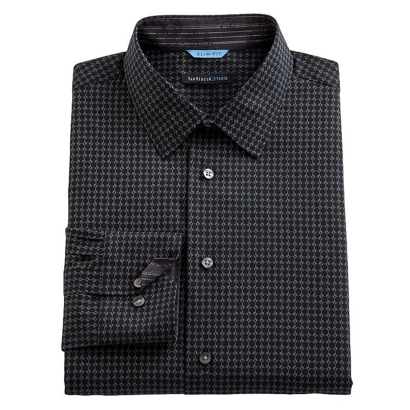 Van Heusen Slim-Fit Checked Dress Shirt - Men