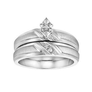 Love Always Diamond Accent Engagement Ring Set in Sterling Silver