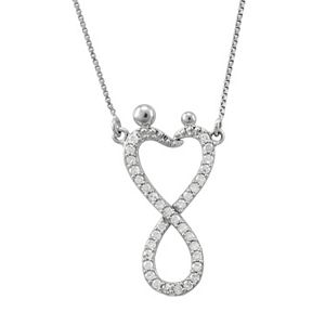 Neverending Love Sterling Silver 1/4-ct. T.W. Diamond Motherly Love Infinity Heart Link Necklace