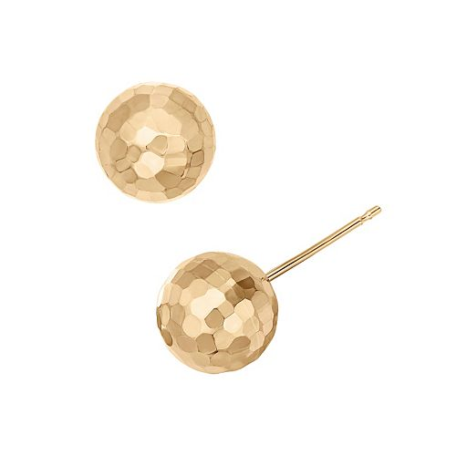 14k Gold Hammered Ball Stud Earrings