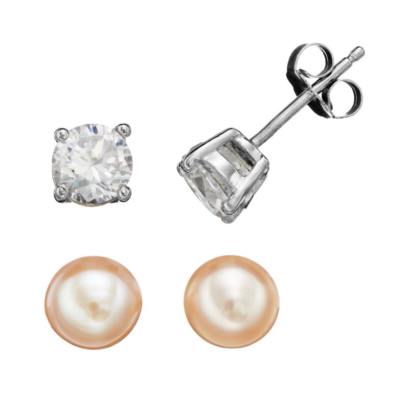 kohl s earrings studs pearl zirconia stud earrings kohl s 6747