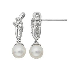Simply Vera Vera Wang Sterling Silver Freshwater Cultured Pearl & Diamond Accent Drop Earrings