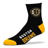 Adult For Bare Feet Boston Bruins Team Color 1/4-Crew Socks