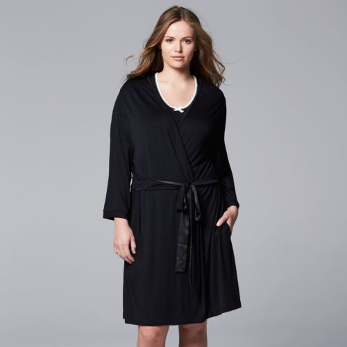 Simply Vera Vera Wang Basic Luxury Wrap Robe - Women's Plus Size