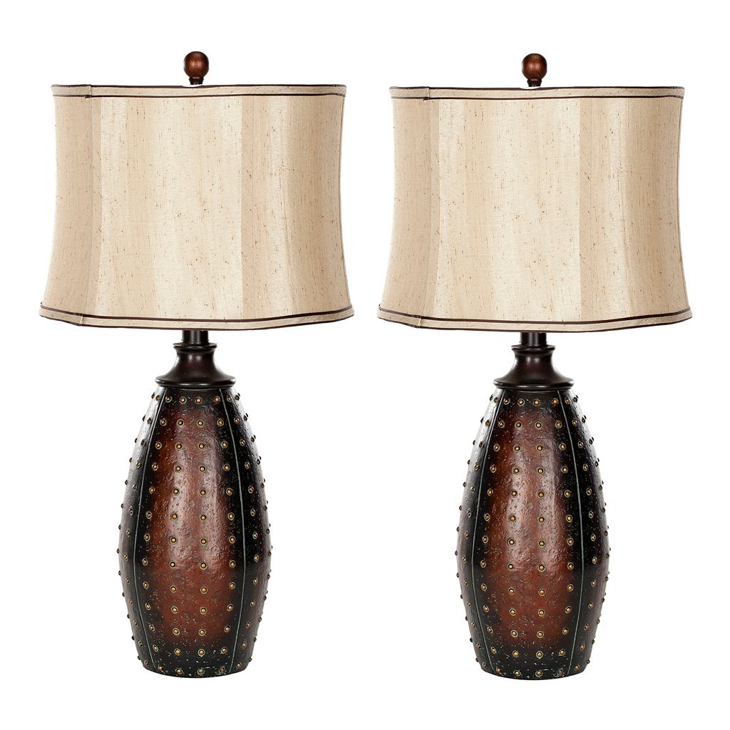 Safavieh 2-piece Santa Fe Faux Leather Table Lamp Set