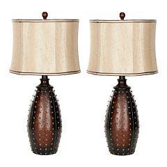 Safavieh 2 pc Santa Fe Faux Leather Table Lamp Set