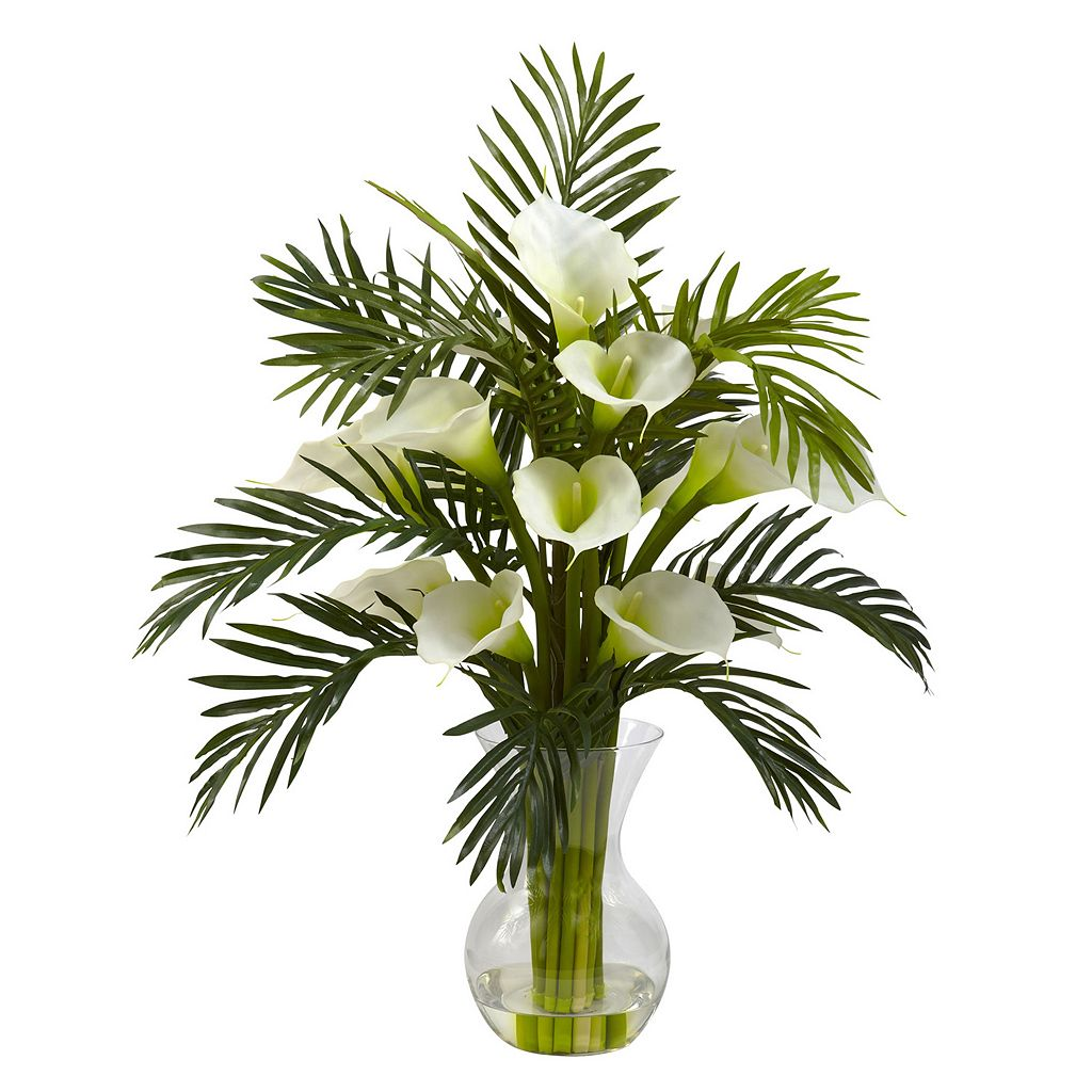 nearly natural Calla Lily & Palm Floral Arrangement