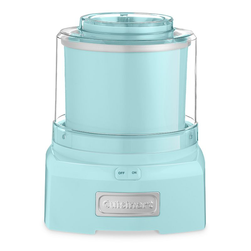Cuisinart Ice Cream, Frozen Yogurt & Sorbet Maker, Blue Cool treats will be your specialty, thanks to this Cuisinart ice cream, frozen yogurt and sorbet maker.Watch the product video here. Heavy-duty motor makes treats in as little as 20 minutes. Mixing paddle thoroughly incorporates ingredients. Double-insulated freezer bowl holds up to 1 1/2 quarts. Large spout makes it easy to add candy, fruit and more. What's Included: Recipe book Product Care: Removable parts: dishwasher safe Manufacturer's 3-year limited warrantyFor warranty information please click here 1 1/2-qt. capacity Size: One Size. Color: Blue. Gender: unisex. Age Group: adult.