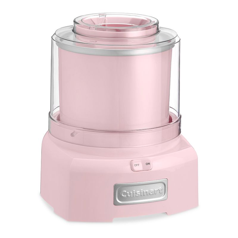 Cuisinart Ice Cream, Frozen Yogurt & Sorbet Maker, Pink Cool treats will be your specialty, thanks to this Cuisinart ice cream, frozen yogurt and sorbet maker.Watch the product video here. Heavy-duty motor makes treats in as little as 20 minutes. Mixing paddle thoroughly incorporates ingredients. Double-insulated freezer bowl holds up to 1 1/2 quarts. Large spout makes it easy to add candy, fruit and more. What's Included: Recipe book Product Care: Removable parts: dishwasher safe Manufacturer's 3-year limited warrantyFor warranty information please click here 1 1/2-qt. capacity Size: One Size. Color: Pink. Gender: unisex. Age Group: adult.