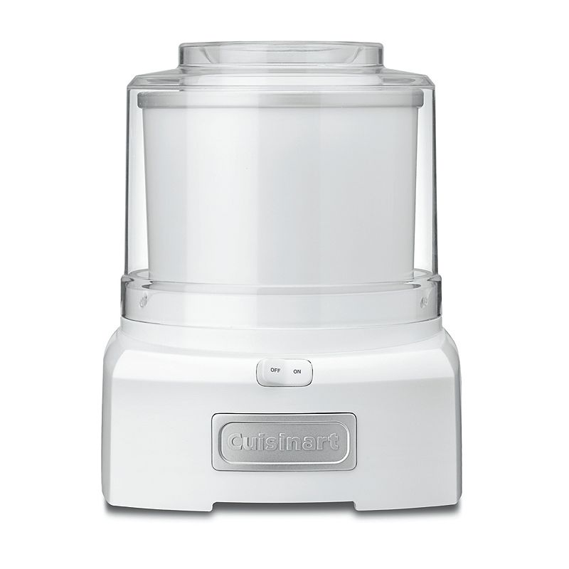Cuisinart Ice Cream, Frozen Yogurt & Sorbet Maker, White Cool treats will be your specialty, thanks to this Cuisinart ice cream, frozen yogurt and sorbet maker.Watch the product video here. Heavy-duty motor makes treats in as little as 20 minutes. Mixing paddle thoroughly incorporates ingredients. Double-insulated freezer bowl holds up to 1 1/2 quarts. Large spout makes it easy to add candy, fruit and more. What's Included: Recipe book Product Care: Removable parts: dishwasher safe Manufacturer's 3-year limited warrantyFor warranty information please click here 1 1/2-qt. capacity Size: One Size. Color: White. Gender: unisex. Age Group: adult.