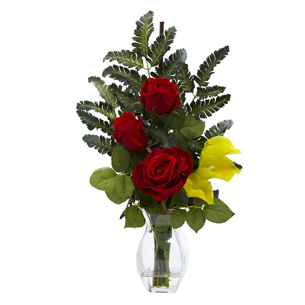 nearly natural Rose & Calla Lily Floral Arrangement