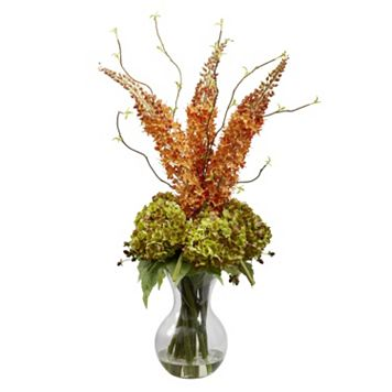 nearly natural Foxtail & Hydrangea Floral Arrangement